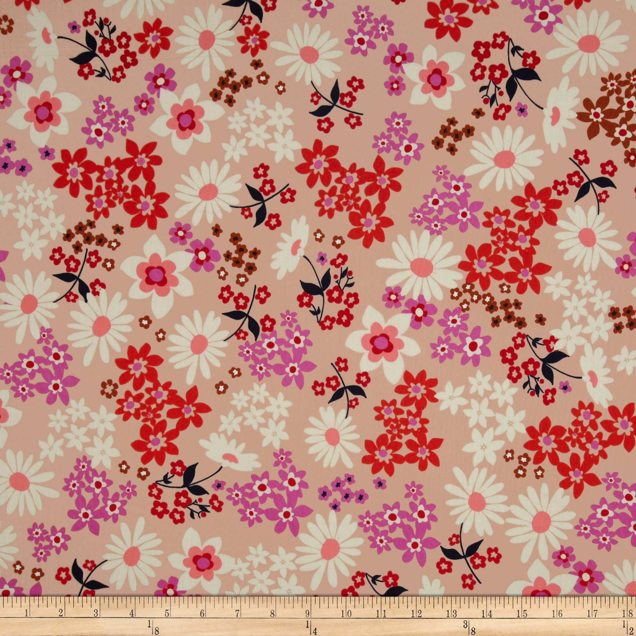 1930s Fashion Colors, Clothing & Fabric Cotton  Steel Playful Lawn Vintage Floral Pink Fabric $14.00 AT vintagedancer.com