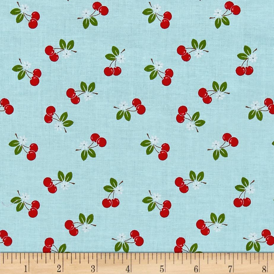 Riley blake sew cherry 2 cherry aqua discount designer for Sewing fabric