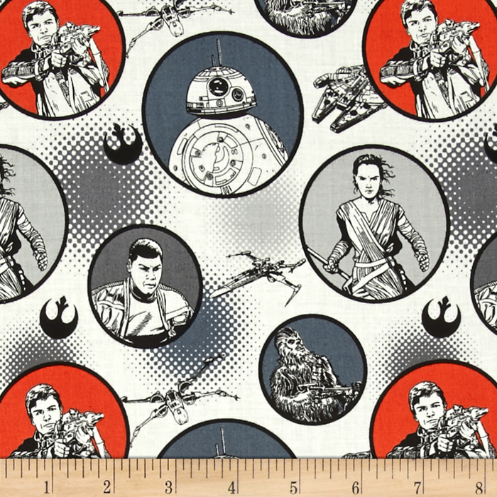 Star Wars The Force Awakens Badges White Fabric by Eugene in USA