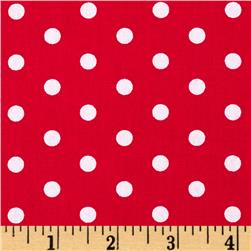 Riley Blake Flannel Medium Dots Red/White Fabric