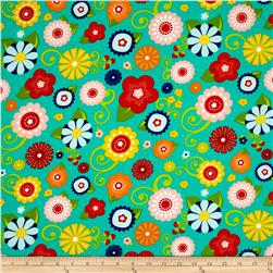 Riley Blake Lazy Day Flannel Main Teal Fabric