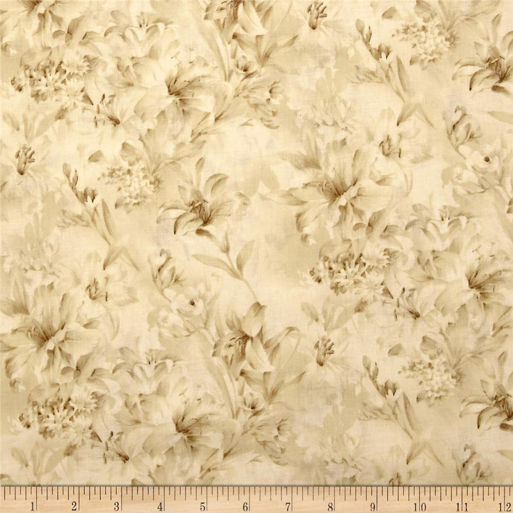 "Day Lily 108"" Wide Quilt Backs Floral Ivory"