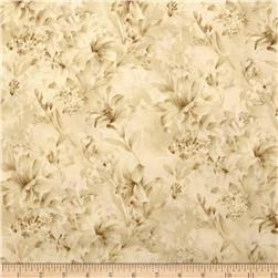 "Day Lily 118"" Wide Quilt Backs Floral Ivory"