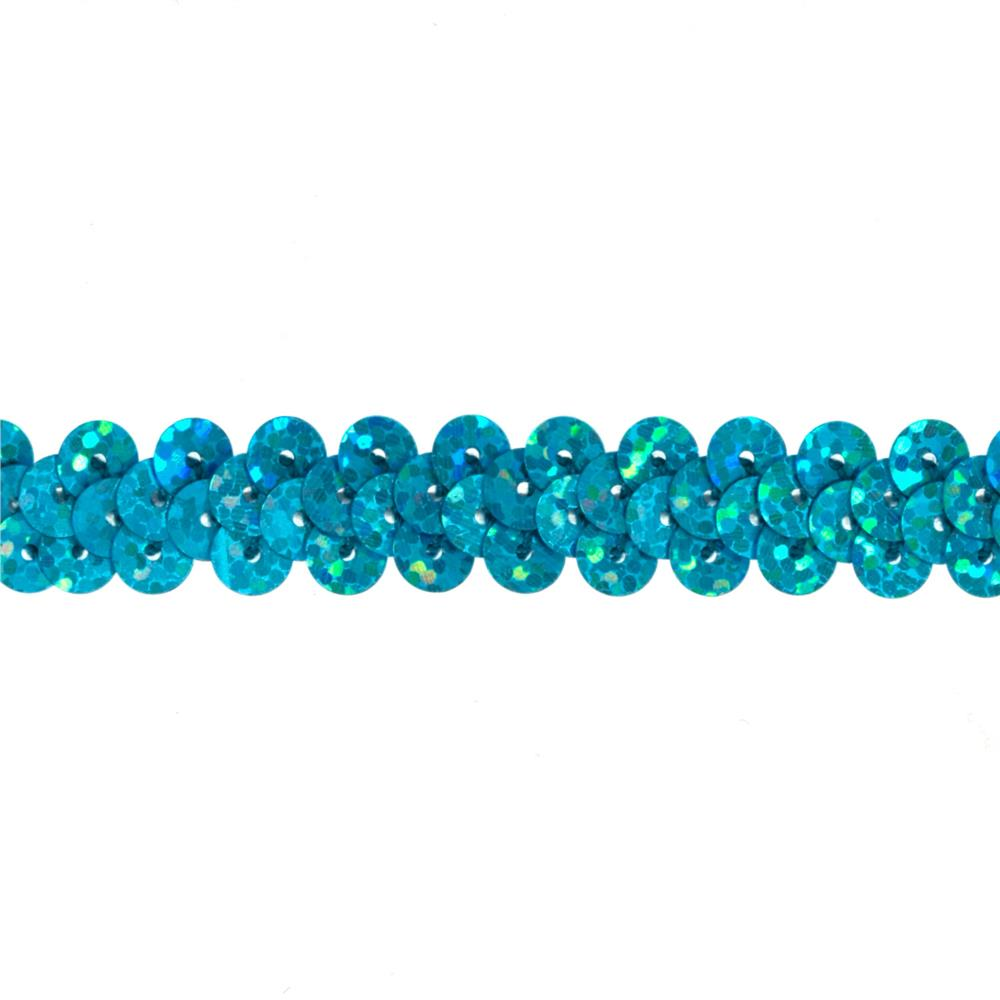 "3/8"" Hologram Stretch Sequin Trim Aqua Blue"