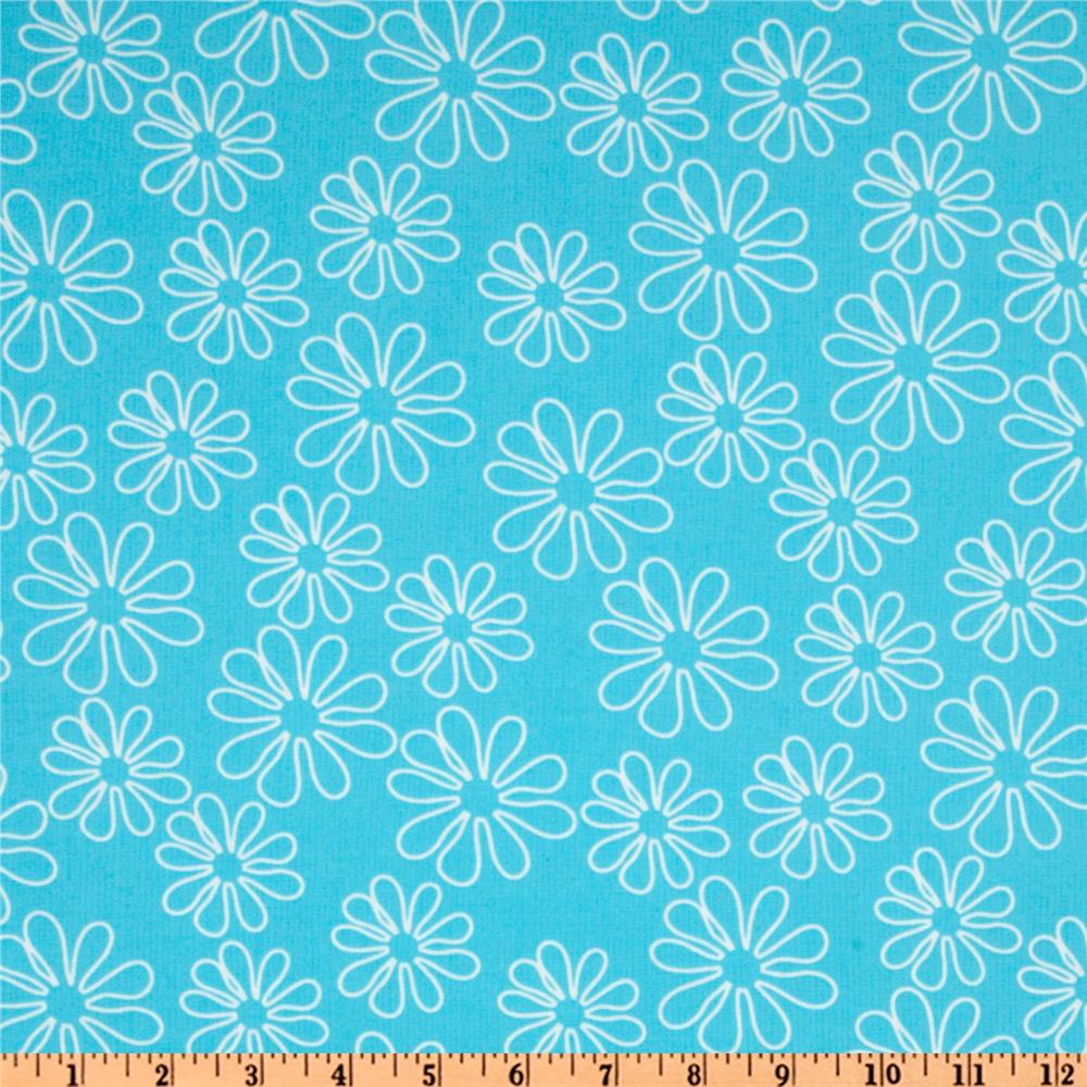 Shadow Flower Floral Toss White/Aqua