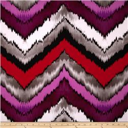 Stretch ITY Jersey Knit Chevron Purple/Red Fabric