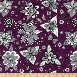 Ink Blossom Whimsy Floral Purple