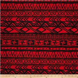 Poly Spandex ITY Jersey Knit Abstract Aztec Red/Black