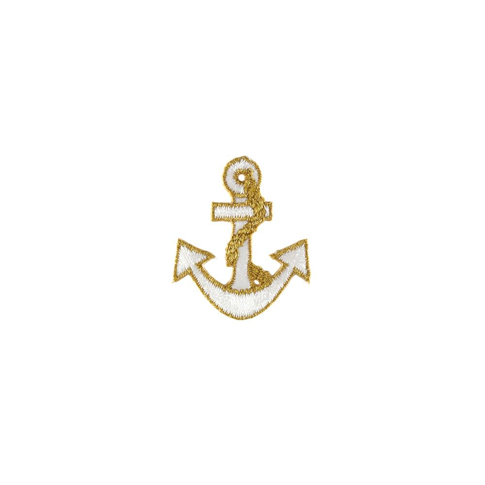 Anchor Applique White/Metallic Gold