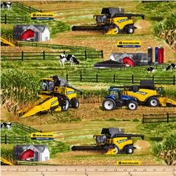 New Holland Combine Fields Allover Multi Fabric