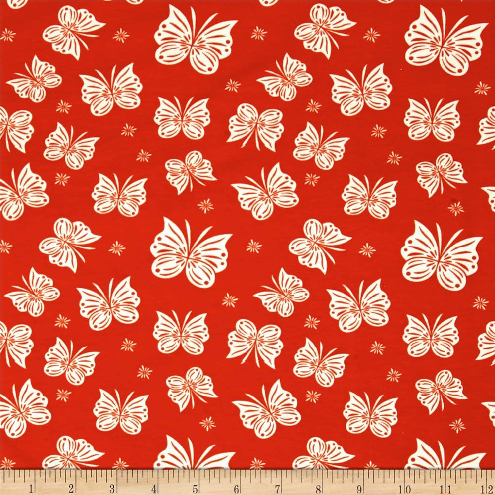 Riley Blake Cotton Jersey Knit Acorn Flutter Red