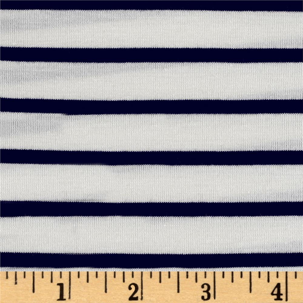 Rayon Spandex 1/2 X 1/4 Yarn Dyed Stripes Jersey Knit Ivory/Navy Fabric By The Yard