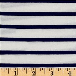 Rayon Spandex 1/2 X 1/4 Yarn Dyed Stripes Jersey Knit Ivory/Navy