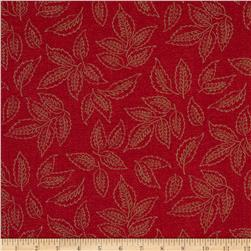Moda Woodland Summer Leaf Clusters Cherry