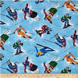 Timeless Treasures Tossed Skiers Blue