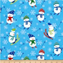 Benartex Christmas Snow Day Blue