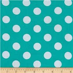 Rayon Challis Medium Dots Mint White