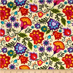 Vibrant Meadow Jacobean Cream