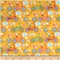 Riley Blake Girl Crazy Flannel Bikes Orange