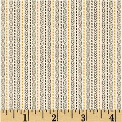 Birds of a Feather Stitched Stripe Ivory/Brown Fabric
