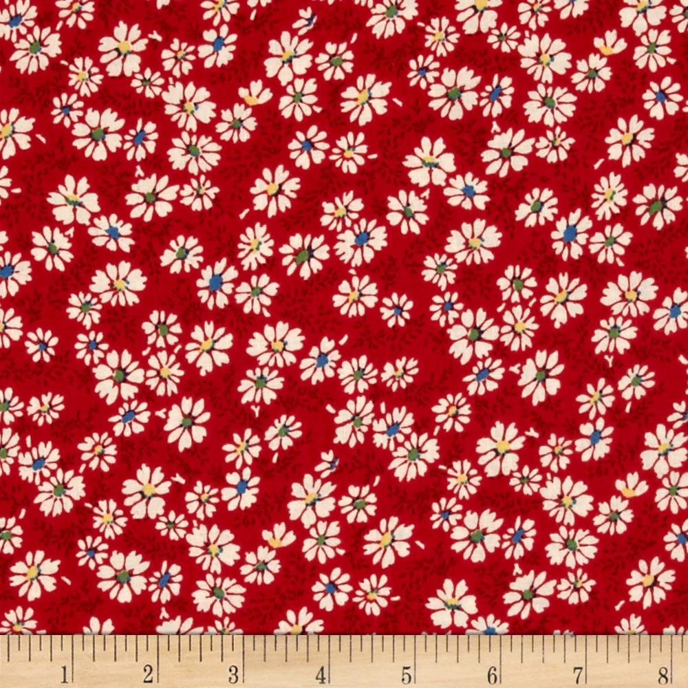 Summer Days Daisies Red Fabric By The Yard