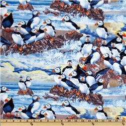 Timeless Treasures Puffins Blue Fabric