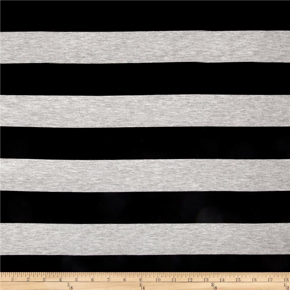 Fringe Jersey Knit Stripe Black/Heather Gray Fabric By The Yard