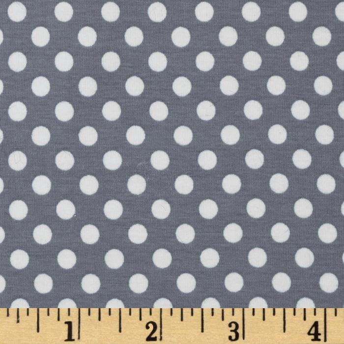 Riley Blake Cotton Jersey Knit Small Dots Gray