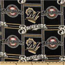 MLB Fleece Milwaukee Brewers Blocks Black Fabric