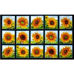 Sunflowers Squares 24 In. Panel Black