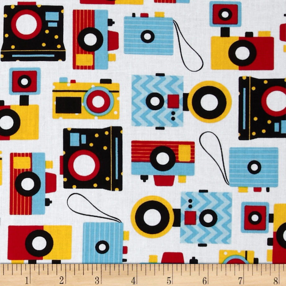 This and That Retro Cameras Bright Fabric