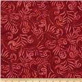 Moda Color Crush Batiks Paisley Maroon