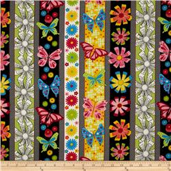 New Castle Flowers, Butterfiles, & Strips Black/Multi