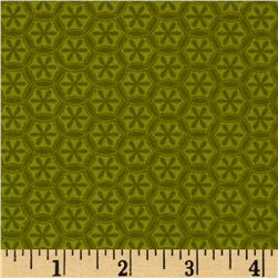 Kanvas Knitty Kitty Flannel Knit Flower Green Fabric