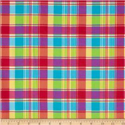 Fabri-Quilt Cuddle Flannel Plaid Pink/Orange Fabric