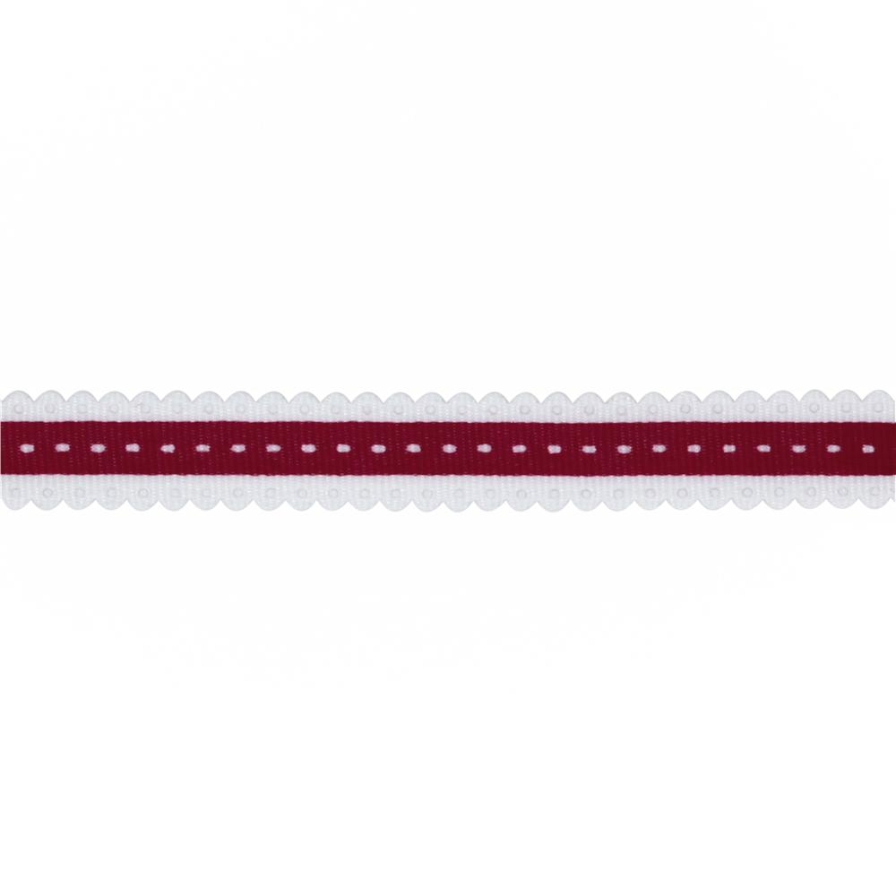 1/2'' Printed Scallop Grosgrain Ribbon Burgundy