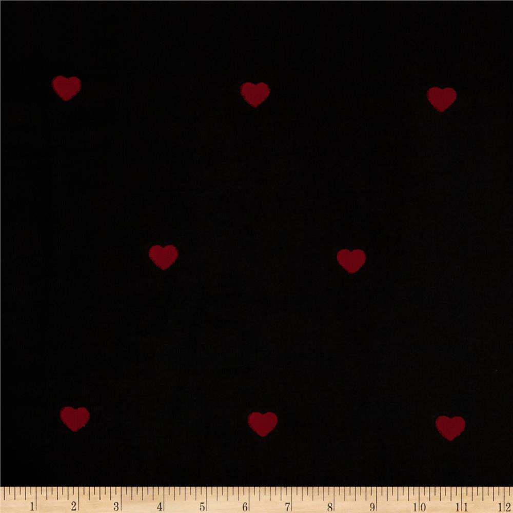 Embroidered 21 Wale Corduroy Heart Black