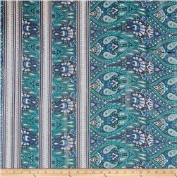 Paisley Silk Chiffon Border Print Emerald/Blue