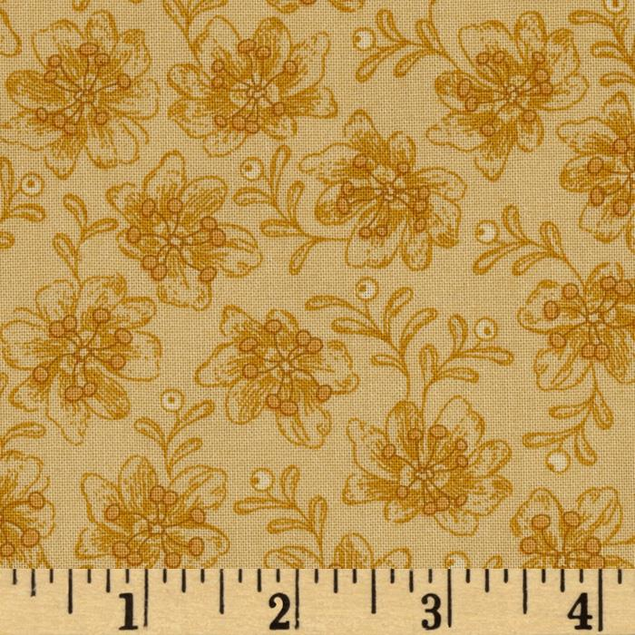 Ginger Rose Small Tossed Floral Gold