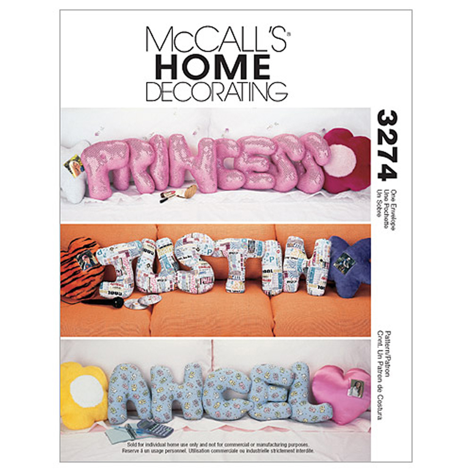 McCall's Novelty Pillows Pattern M3274 Size OSZ by Kwik Sew in USA