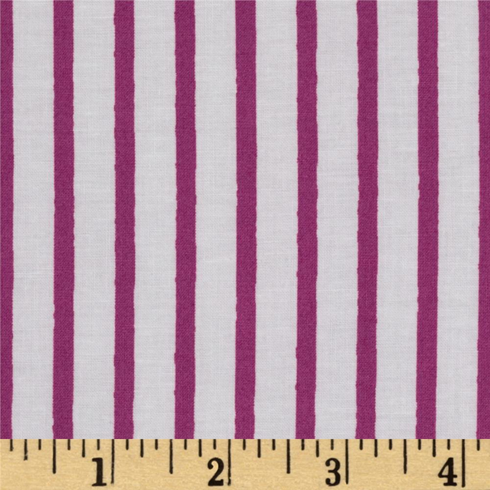 Michael Miller Out To Sea Pirate Stripe Raspberry