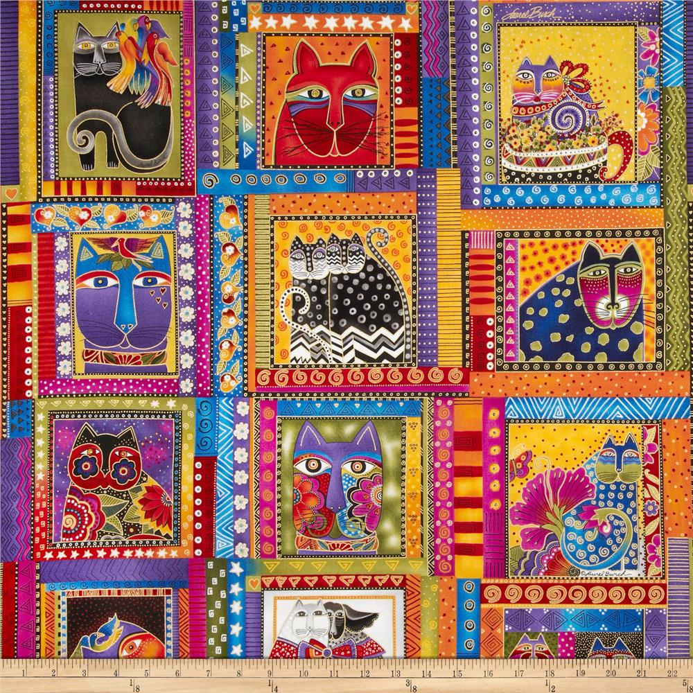 Laurel Burch Fabulous Felines Cat Portrait Multi Metallic