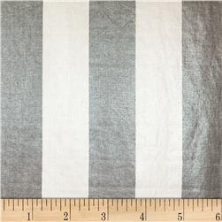European 100% Linen Metallic Striped Silver & Grey