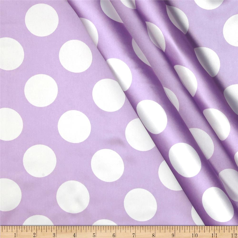 Charmeuse Satin Large Polka Dots Lavender/White Fabric By The Yard