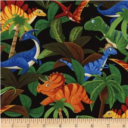 Timeless Treasures Dino Jungle Black