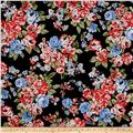 Stretch Poplin Floral Black/Coral
