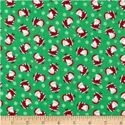 Timeless Treasures Christmas Flannels Mini Santas Green