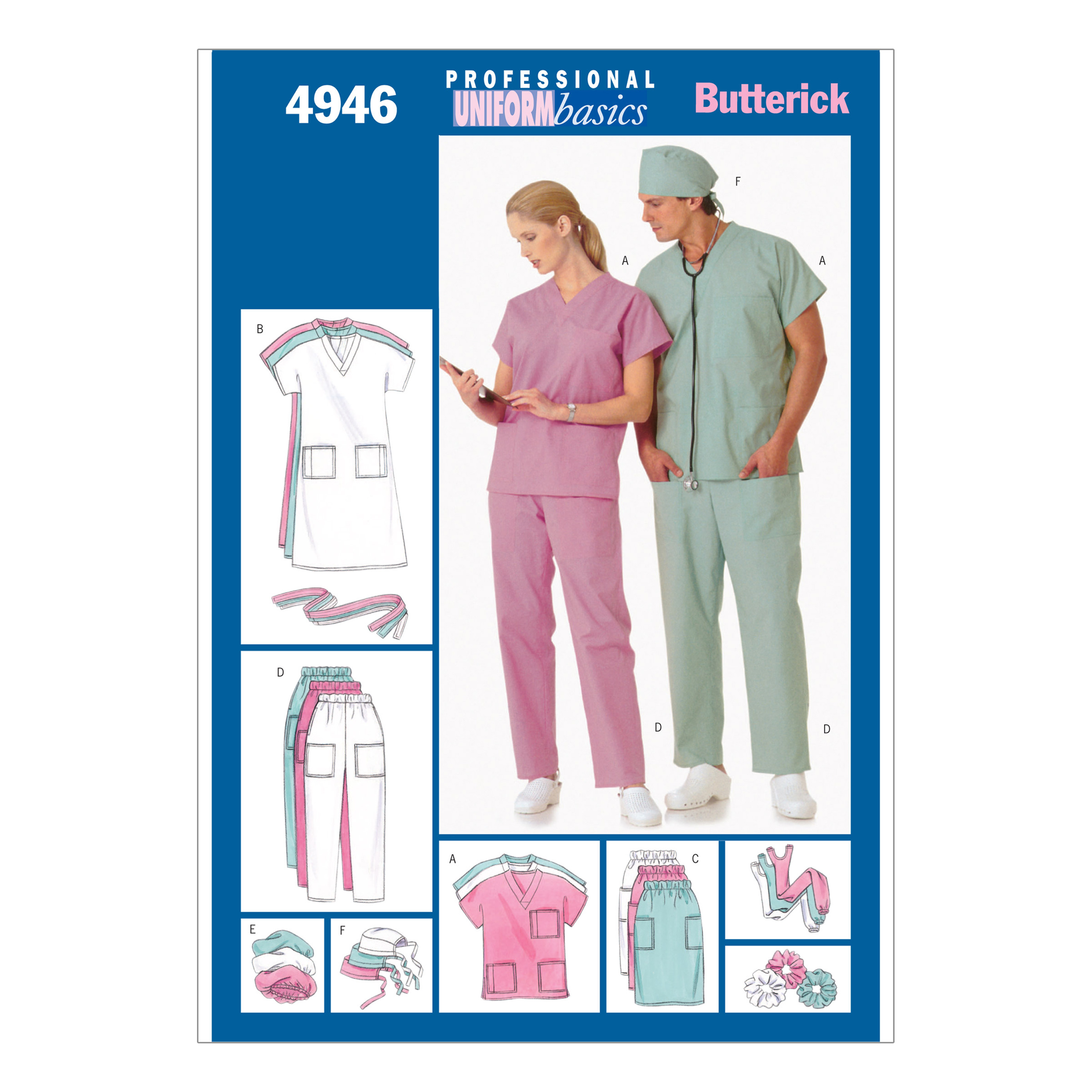 Butterick Unisex Uniforms (Dress Belt Top Skirt Pants Hat & Ponytail Holder) Pattern B4946 Size LRG