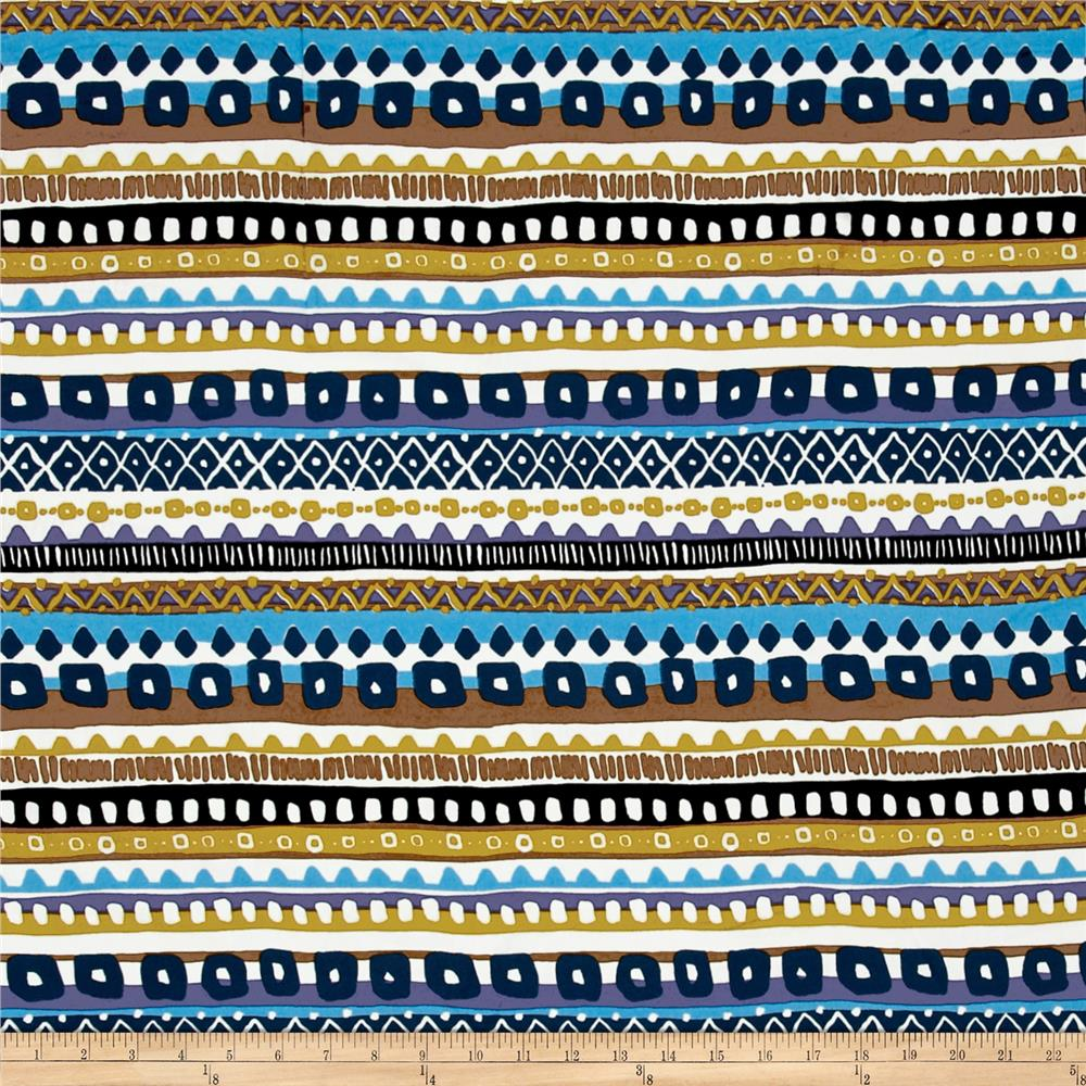 Crepe Aztec Stripe Blue Multi