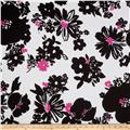 Stretch Poplin Carnation Black/Pink
